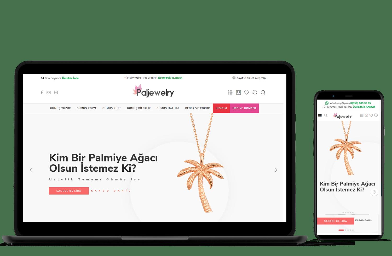 IRM Dijital projeler - Pajewelry web sitesi tasarımı
